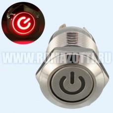 Кнопка без фиксации, с красной подсветкой, 12 вольт