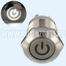Кнопка с фиксацией и белой подсветкой, 220 вольт